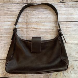 Coach Brown Leather Zip Hobo with Magnetic Closure